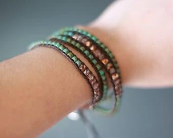 Rose Gold Turquoise Boho 4x Handmade Leather Wrap Bracelet