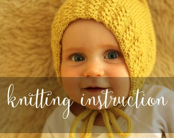 Knitting Instruction Babybonnet Isidor 0-14 months in English