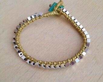 Macrame bronze silver plated bracelet, friendship bracelet, macrame bracelet, friendship bracelet, bronze bracelet, bronze macrame