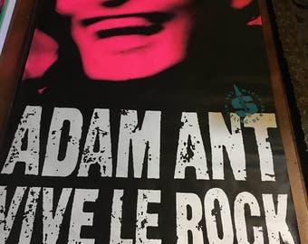 Adam Ant Vive Le Rock Rare Original Vintage 1985 Silkscreened  Music  Poster