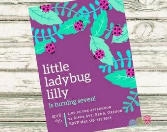 Birthday Party Invitation, Custom Birthday Party Invitation, Little Lady Bug Birthday Invitation, Ladybugs, PDF Instant Download