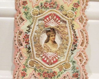 Vintage Layered Victorian Style Lacy Valentine With Lady