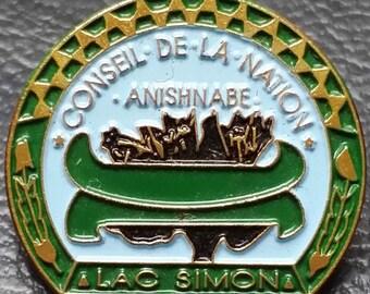 Lac Simon, Quebec, Canada Souvenir Lapel Pin - Conseil de la Nation, Anishnabe - Great Collectible Gift!