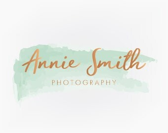 Premade Mint and Rose Gold Watercolor Logo Design