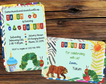 The Very Hungry Caterpillar Birthday Invitation