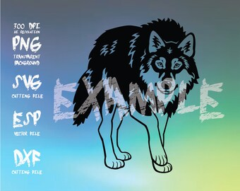 Wolf Silhouette,clipart,SVG,PNG 300dpi ,ESP vector