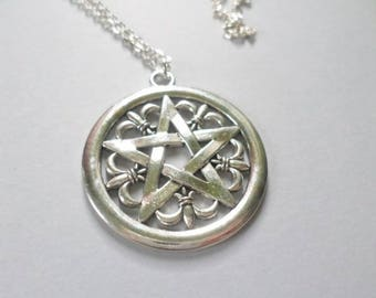 pentacle necklace silver tibetan wiccan gothic