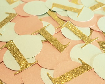 Mint Green Pastel Pink and Gold glitter first birthday confetti. Pastel first birthday confetti. Table confetti.