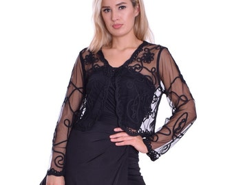 Elegant Dress Bolero Shrug Cover Up Black Tulle Lace with Button