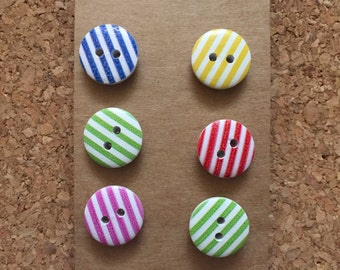 Colorful Striped Thumb Tacks/Push Pins / Magnets - FREE SHIPPING!