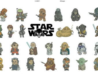 50% off - Mini Star Wars embroidery designs - In the hoop (ITH) 4in hoop - A~Z Starwars 26 characters -  resizable.