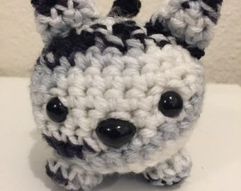 Crochet roly poly cat; stuffed cat; stuffed toy; black and white cat; crochet kitty