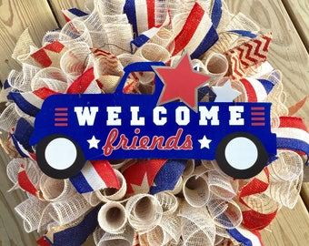 Welcome friends, patriotic wreath, burlap wreath, red white and blue wreath, 4th of july wreath