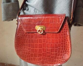 Bag crocodile print. Shoulderbag Vintage Furla. Vintage bag. Vintage Furla