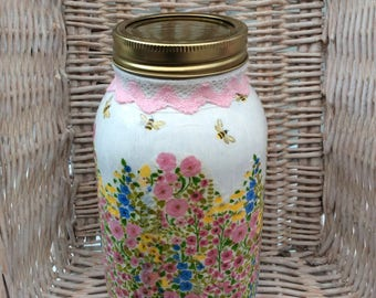 Hand decorated meadow flowers 1 L mason jar