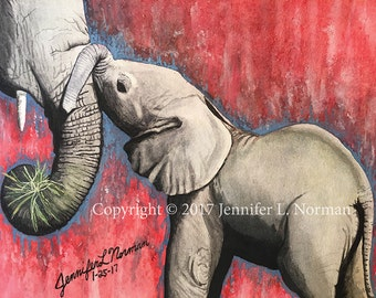 Elephant Nursery Art, Elephant Nursery Decor, Elephant Art, Elephant Art Print, Safari Nursery, Elephant Wall Art, Elephant Home Decor