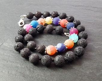 Chain lava with colorful agate beads