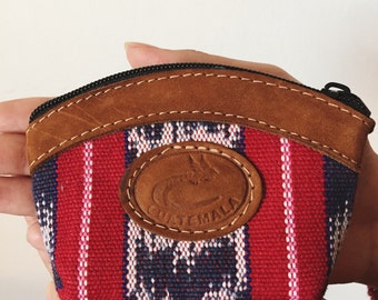 Guatemala Coin Purse / shipping included/ Small Convenient Purse / Boho Textile Leather