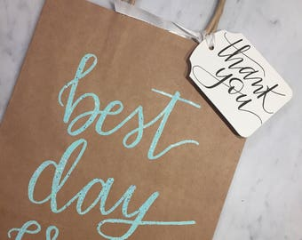 CUSTOM Set Kraft Wedding Welcome Bags + Thank You Gift Tags | Bridal Shower Bags | Gift Tags | Engagement Party | Events | Favors