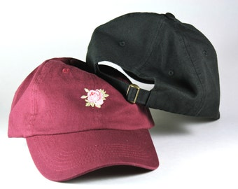 Rose Embroidered Dad Baseball Cap