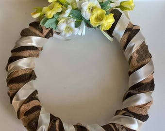 Wreath with flower chaplet House decorating with flowers