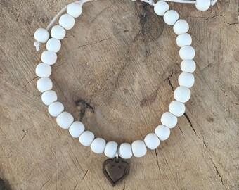 11:11 Heart Bracelet - White Sand