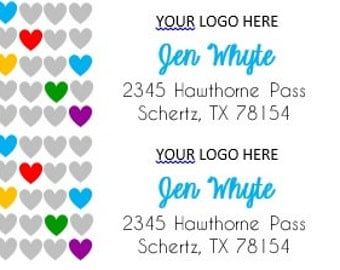 Return Address Labels Hearts - Set of 60 labels