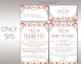 Boho Marketing Kit Bundle Package, 2 Items Package, Boho Business and Thanks Cards, Fast Free Personalization K25M04