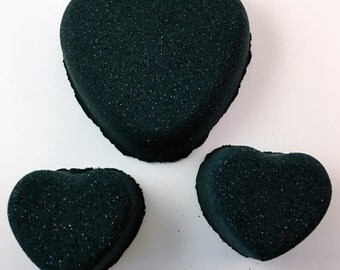 Large Black Glitter Heart Bath Fizzy Bomb