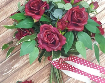 Red Rose Bouquet, Red Bridal Bouquet, Wedding Flower Package, Wedding Flowers, Silk Bouquet, Silk Wedding Flowers, Silk Bouquet, Boutonniere