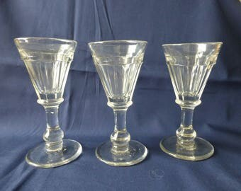 Vintage Cordial Glasses Set Of Three, Victorian Glasses, Clear Glass Glaases,Petal Cut Bowls,Collectible Vintage Glass.