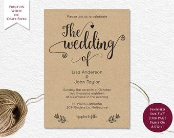 Editable Printable Template, Wedding Invitation Template,  Wedding Template, DOC Template, Instant Download.