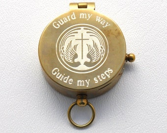 Engraved Antique Brass Pocket Compass (Guard My Way and Guide My Steps, Personalized Confirmation Gift)