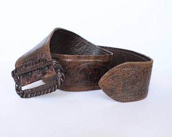 Vintage Embossed Leather Belt, Retro Ladies Leather Belt, Boho Style, Wide Womens Belt, Dark Brown Lady's Belt, Hippie Belt, 70s Fashion,
