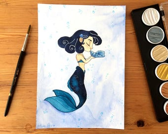 Blue Mermaid - original illustration