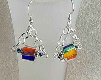Multiple colors cane glass drop earrings on sterling silver chain