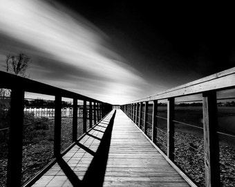 The Vanishing Boardwalk Long Exposure Black and White