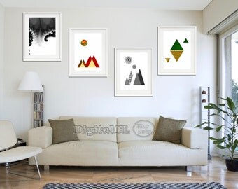Geometric Print Printable Art Set Offer Minimalist Black And White Green Red Scandinavian Abstract