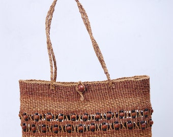 Bead tote bag #made from water hyacinth #Thai handmade #Vintage Style