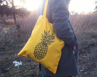 tote bag, tote, cotton bag, cotton tote bag, cotton tote, yellow tote bag, yellow tote, cute tote, cute tote bag, pineapple bag, pineapple