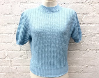 Vintage 50s style knit, blue retro short sleeved pullover