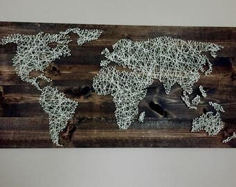 Large rustic world map string art
