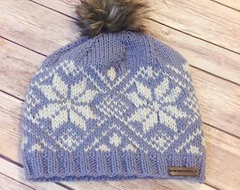 Fair Isle Hat - crochet hat, knit hat, snowflake hat, women's hat, hat with fur pom pom, crochet beanie, knit beanie - Dusty Blue