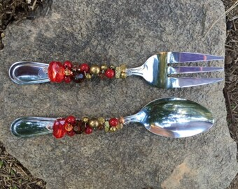Wire Wrapped Beaded Serving Set--Red and Gold