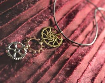 Hand made steam punk cog necklace