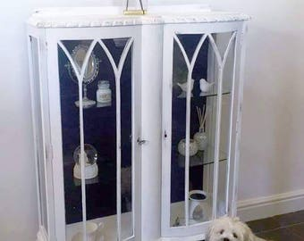 SALE-25% OFF - Beautiful/White,Hand Painted/ Shabby Chic/ Distressed/ China Display Cabinet