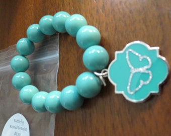 Beaded Teal Stretch Bracelet with Attached Charm-Butterfly