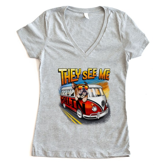 They See Me Rollin' English Bulldog Women's V- Neck T-shirt - VW bus - 3 Color Options - Dog Owner Gift, Dog Lover