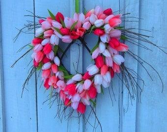 SALE! Spring Wreath, Spring Door Wreath, Wreaths, Valentine Wreaths, Tulip Wreath, Spring Tulip Wreath, I love You, Pink Tulips,