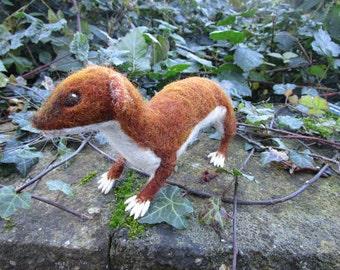 Needlefelted 3D sculpture of a Weasel.